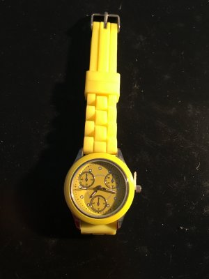 Watch silver-colored-yellow