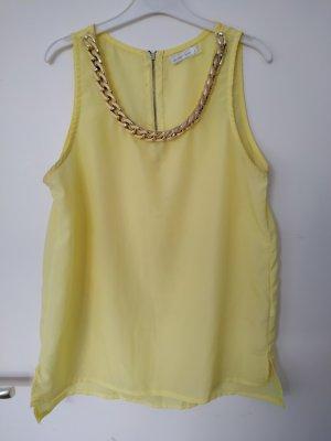 hellgelbe Bluse mit Goldkette als Kragen, gr. S