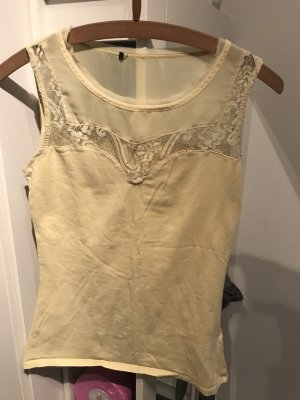 H&M Lace Top pale yellow-primrose