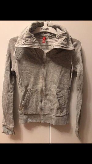 Hellgrau melierte Sweatshirtjacke von H&M, Größe 36