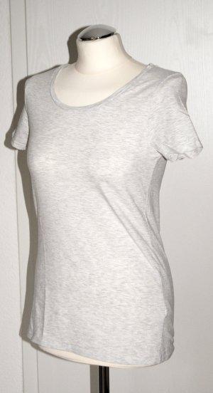 Hellgrau melliertes Basic-Shirt