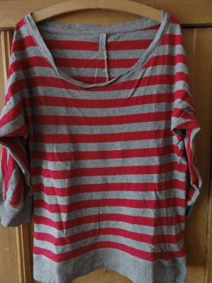 Hellgrau-pink gestreiftes Shirt