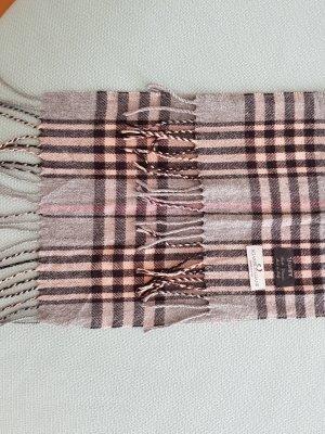 Hellgrau/rosa Schal aus echter weicher Wolle, Made in Italy