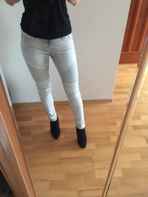 Hellgraue Biker Jeans
