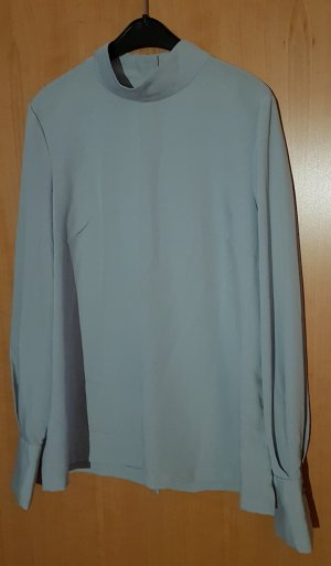 H&M Stand-Up Collar Blouse light grey-azure