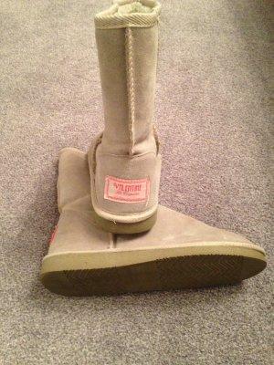 Hellgraue Boots echtes Wildleder mit Teddyfell Gr. 38 Valentine
