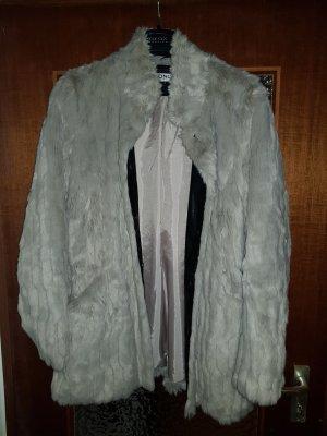 hellgraue Fake-Fur Jacke