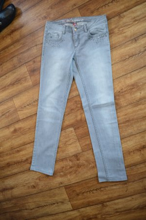 hellgraue Five Pocket Jeans mit Glitzersteinchen 28/32 EDC by Esprit