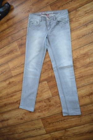 hellgraue Five Pocket Jeans mit Glitzersteinchen 28/32 EDC by Esprit