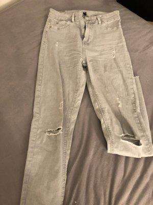 Bershka Drainpipe Trousers light grey