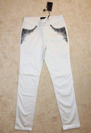 Patrizia Dini Drainpipe Trousers light grey-black cotton