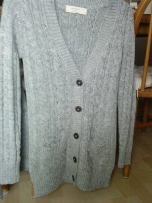hellgraue Longstrickjacke von Zara in Größe S