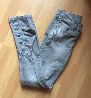 Hellgraue Röhren Skinny Jeans Knöpfe XS/S