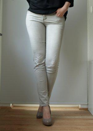 hellgraue Röhrenjeans im Used Look 38 Skinny Hose