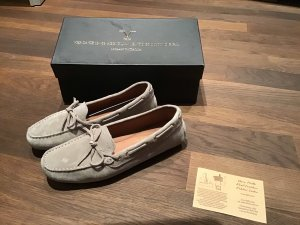 Hellgraue Wildleder Slipper von Versace 19.69 in Gr. 38
