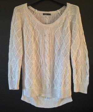 Hellgrauer Oversize-Pullover aus Grobstrick mit Silberschimmer