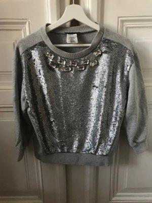 Hellgrauer Pullover mit Paillettenverzierung PINKO
