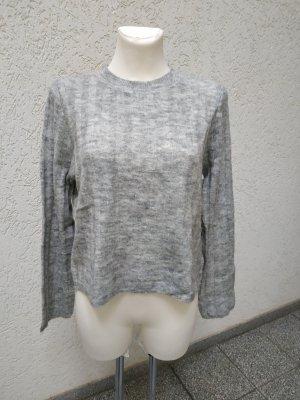 Hellgrauer Pullover mit Wolle Gr S