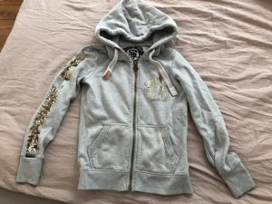 Superdry Sweat Jacket light grey-gold-colored