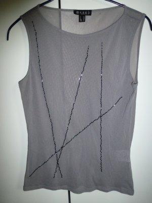 Hellgraues Mesh-Shirt bestickt