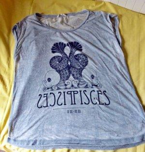 Hellgraues Motto-T-Shirt