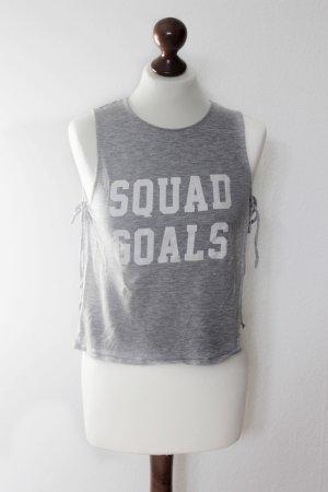 Hellgraues Top Squad Goals Print Cut Out 36 38 S H&M Blogger
