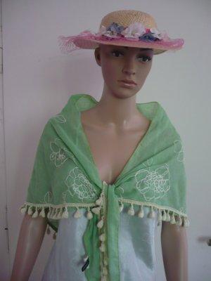 Hellgrüner Schal mit gelber Blumenstickerei und Bommeln von Antonio
