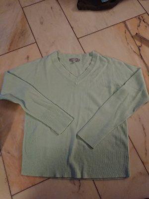 Maglione con scollo a V verde pallido-verde chiaro