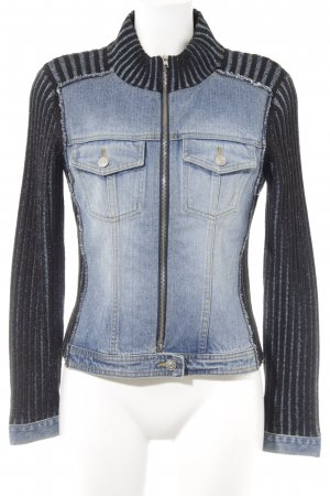 Helline Jeansjacke kornblumenblau-schwarz Streifenmuster Casual-Look