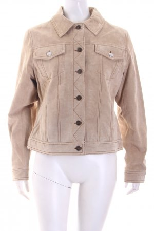 Helline Giacca in pelle beige Stile ciclista