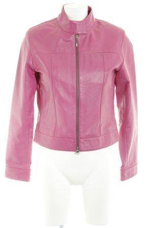 Helline Lederjacke pink Metallelemente