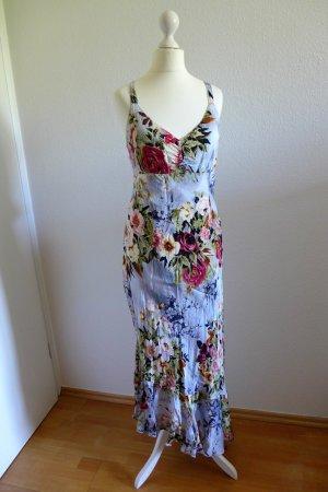 Helline Sommer Kleid lang Blumen hellblau rot grün Gr. 42