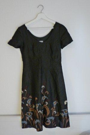 Hello Braren Gröhnke 100% Leinen Kleid S 38 *NEU* schwarz blumen bestickt Fashion Blogger Hippie Indie