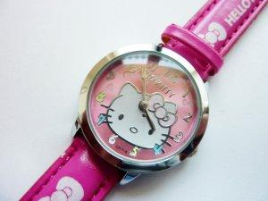 Hello Kitty Armbanduhr mit Lederarmband pink Geschenkidee Weihnachten