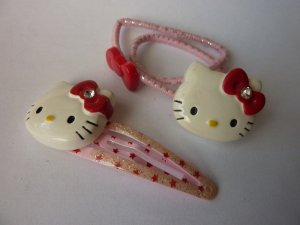 Hello kitty Hair Clip white-red synthetic material