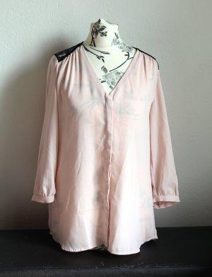 H&M Blusa in merletto nero-rosa chiaro