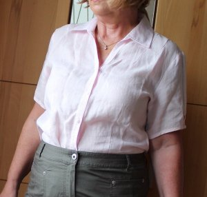 Hellrosa Leinen-Bluse