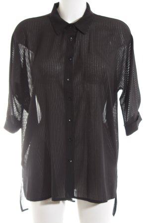 Helly Transparenz-Bluse schwarz Streifenmuster Business-Look