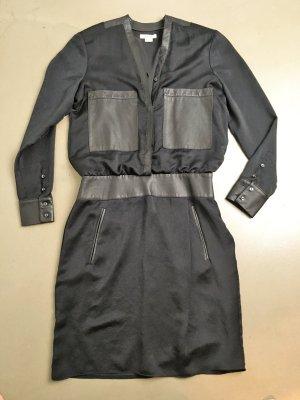 * HELMUT LANG * KLEID schwarz Polyester Leder  MIDI / MINI Gr US 6 M 38 / 36