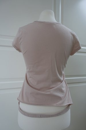 HELMUT LANG T-Shirt aus Baumwolle in beige-rosa, mit ungwöhnlichen Saum hinten, ital. 44 oder EUR 40