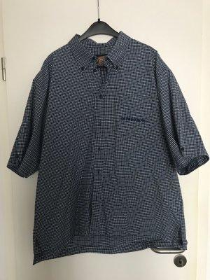 Camisa de manga corta azul oscuro-blanco