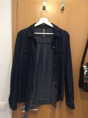 Primark Camicia denim blu scuro Cotone