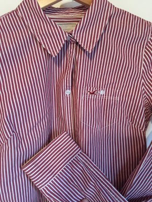 Hollister Camisa de manga larga blanco-rojo oscuro