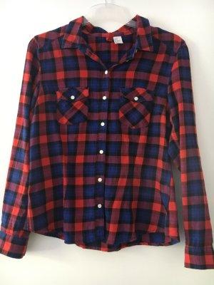 H&M Divided Lumberjack Shirt dark red-dark blue