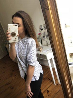 Pull & Bear Chemise à manches courtes blanc-bleu acier