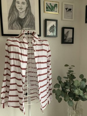 Zara Chemise à manches longues blanc-bordeau