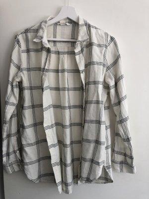 H&M Long Sleeve Shirt white-black
