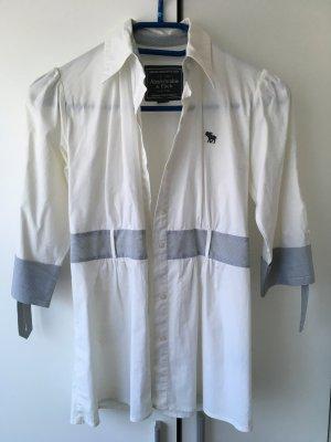 Abercrombie & Fitch Camisa de vestir blanco-azul celeste Algodón