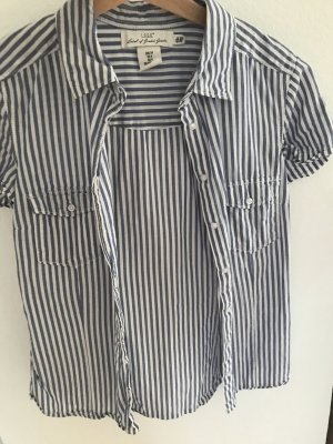H&M Shirt met korte mouwen wit-azuur