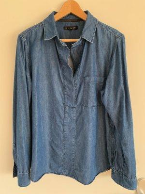 Mos Mosh Denim Blouse steel blue cotton